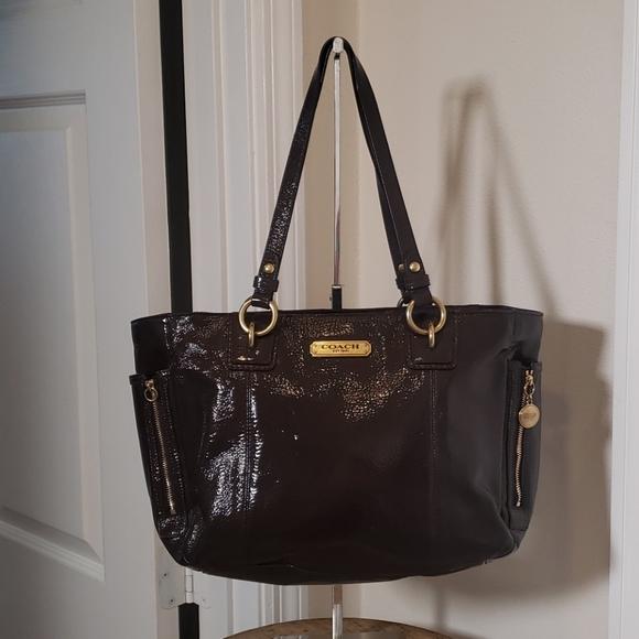 Coach patent leather brown shoulder bag